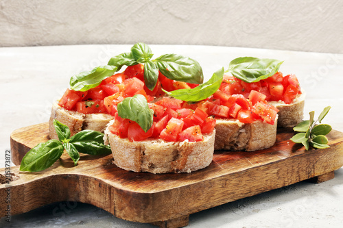 fresh tomato bruschetta. italian food appetizer with basil Canvas Print