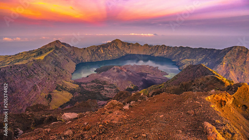 Foto auf Leinwand Dunkelbraun In the morning of Rinjani mountain, Lombok, Indonesia.