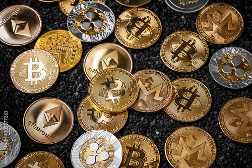 Stack of cryptocurrencies Canvas Print