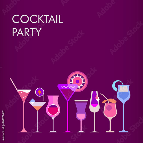 Foto op Canvas Abstractie Art Cocktail Party vector background