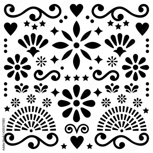 Fotografija  Mexican folk art vector pattern, black and white design with flowers greeting ca