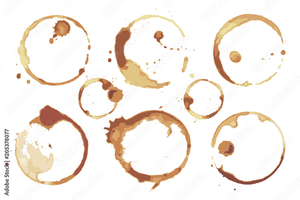 Fototapeta Coffee and Tea Stains Left by Cup Bottoms Set