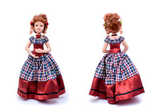 Porcelain Doll In Vintage Dress, Front And Back View