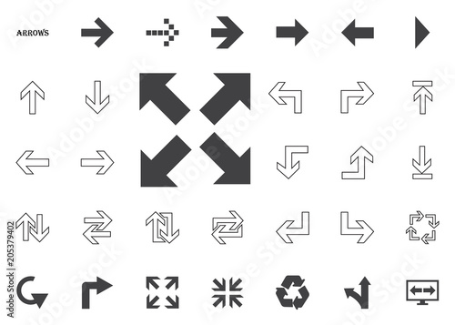 All directions bold arrows  Arrow vector illustration icons