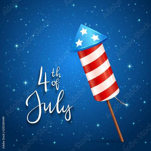 Fotografija  Firework and text 4th of July on blue background