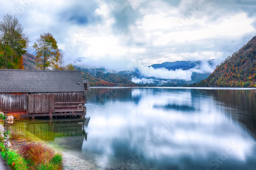 Idyllic autumn scene in Grundlsee lake in Alps mountains, Austria