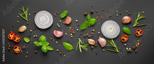 Foto op Canvas Aromatische various herbs and spices