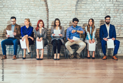 Photo of candidates waiting for a job interview Wallpaper Mural