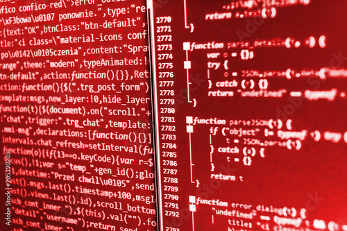 Software development  Abstract computer script code  Screen of web