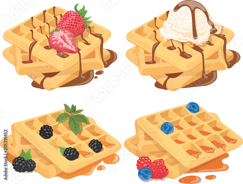 Fotografía  Collection of Belgian waffles with fruit fillings