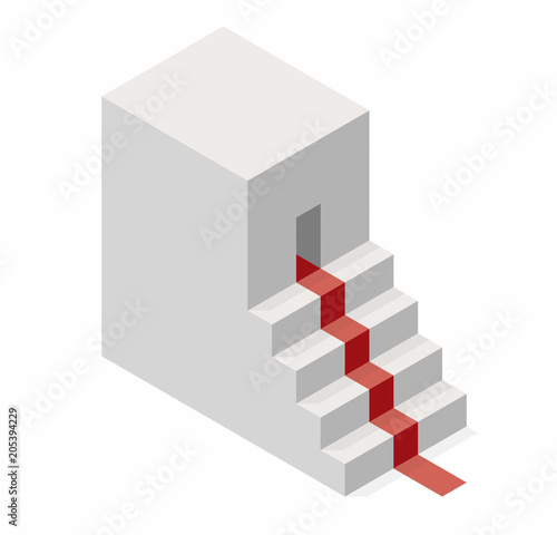 Vector Cube Shape Evoking The Ascending Staircase Minimalistic
