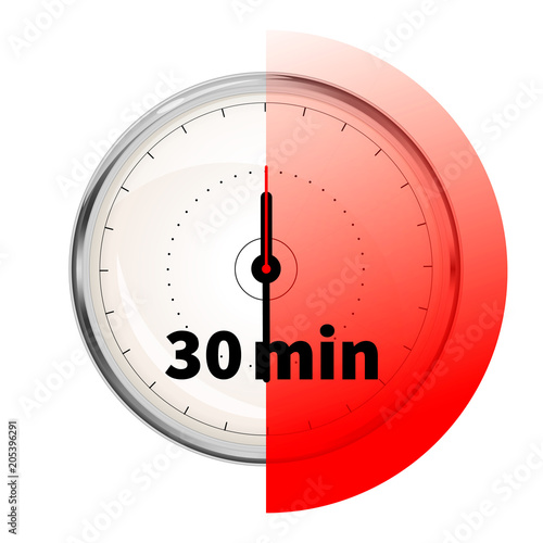 Fotografía  Realistic clock face with thirty minutes timer on white