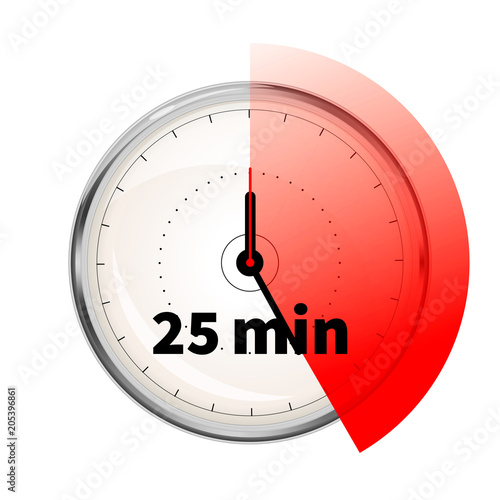 realistic clock face with twenty five minutes timer on white buy