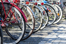 Old Bikes On A Bicycle Parking Lot.