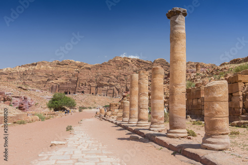 Stampa su Tela Columns at roman paved road to Qasr al Bint temple, in Petra Archaeological Park, Jordan