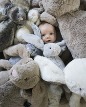 An Infant With A Lot Of Fluffy Rabbit Bunny Toys Around His Face