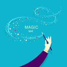 Magician Hand And Magic Wand Background Illustration.