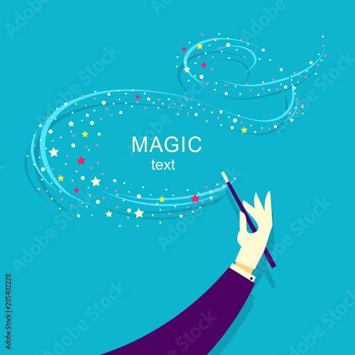 Obraz Magician hand and Magic wand background illustration. - fototapety do salonu