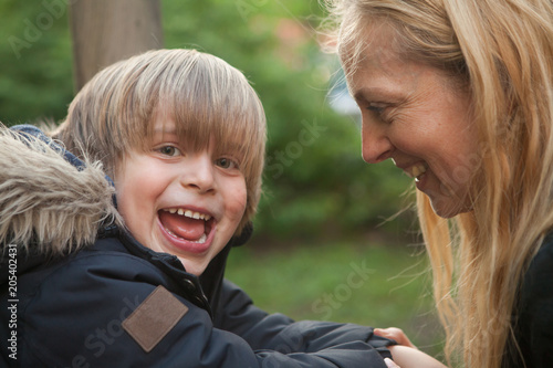 Photo Mother and son very happy