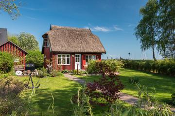 Fototapeta na wymiar Schöner Garten eines typischen Dorfhaus mit Reetdach an der Ostsee