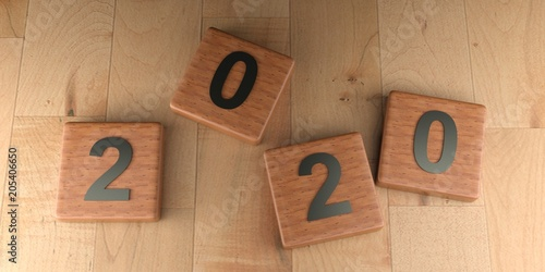 Poster 2020 wooden tags - 3D rendering
