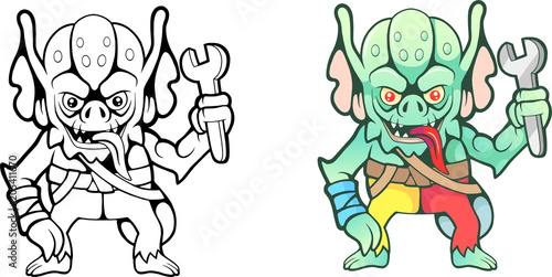 Платно cartoon funny gremlin with a wrench in his hand