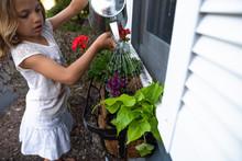 Girl Watering Plants In Window Box