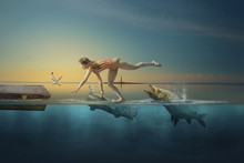 A Girl In A Swimsuit, Flees From Predatory Fish