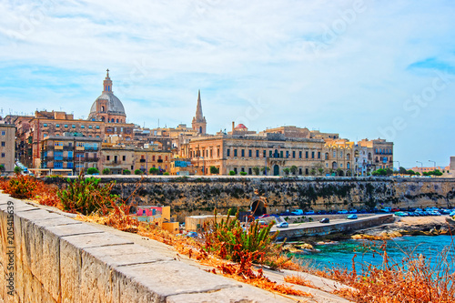 Canvas Valletta Skyline with St Paul Cathedral and bastions