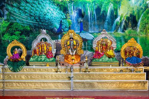 Statuettes in the Hindu temple in Matale in the Central Province of Sri Lanka. Shiva, Vishnu, Brahma are deities of the Hindu religion