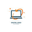Logo design abstract digital technology vector template.