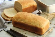 Homemade Freshly Baked White Bread, Selective Focus
