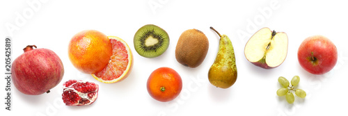 Poster Légumes frais pattern of various fresh fruits isolated on white background, top view, flat lay. Composition of food, concept of healthy eating. Food texture.