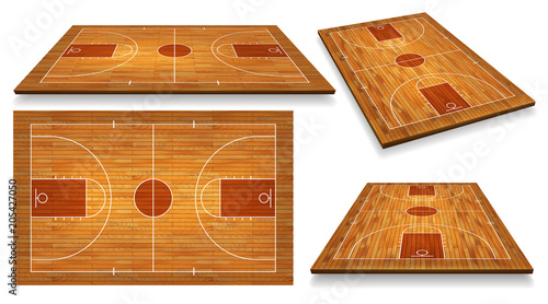 Fotografie, Obraz  Set Perspective Basketball court floor with line on wood texture background