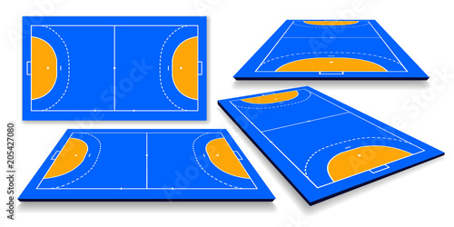 Fotografia, Obraz detailed illustration of a handball field, cort with perspective, eps10 vector