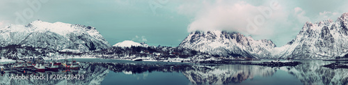 Fotografie, Obraz  Landscape with beautiful winter lake and snowy mountains at Lofoten Islands in Northern Norway