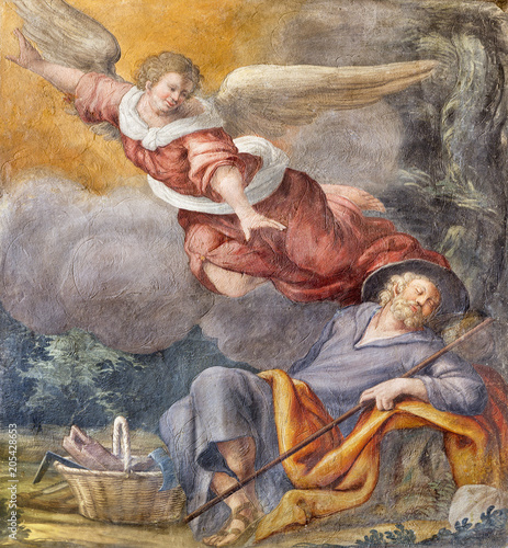 PARMA, ITALY - APRIL 16, 2018: The fresco of The Vision of angel to St Canvas-taulu