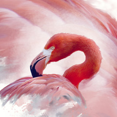Obraz na Szkle Zwierzęta Flamingo watercolor painting