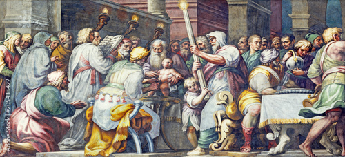 PARMA, ITALY - APRIL 16, 2018: The fresco The Circumcision of Jesus in Duomo by Lattanzio Gambara (1567 - 1573).