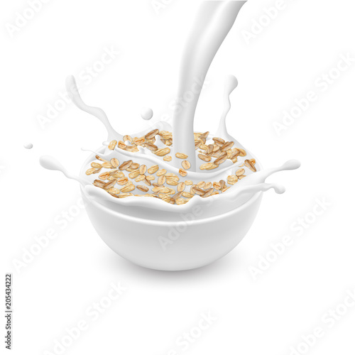 Valokuva  Vector realistic ceramic bowl with oat flakes or muesli, with white pouring milk and splashes isolated on background
