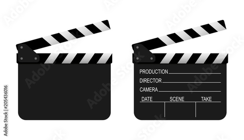 Film clapper board on white background. Vector Wallpaper Mural