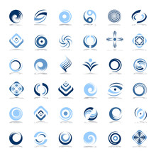 Design Elements Set. Abstract Icons In Blue Colors.