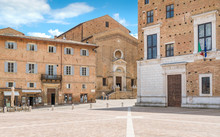 Rinascimento Square In Urbino, City And World Heritage Site In The Marche Region Of Italy.