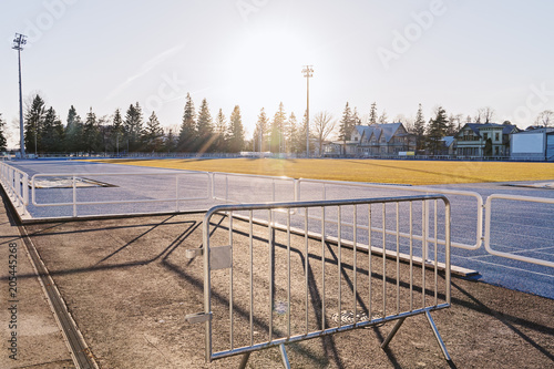 Fotobehang Stadion Empty morning stadium in early morning light. Active lifestyle and morning run concept