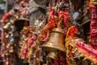 Leinwanddruck Bild - Bells in hindu Kamakhya Mandir temple in Guwahati, Assam state, North East India