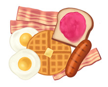 Hearty Plate Of Stylized Breakfast Foods With Bacon, Fried Eggs, Sausage, Toast With Jam, And Waffle
