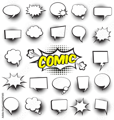 Staande foto Pop Art Big Set of Cartoon,Comic Speech Bubbles, Empty Dialog Clouds with Halftone Dot Background in Pop Art Style. Vector Illustration for Comics Book , Social Media Banners, Promotional Material