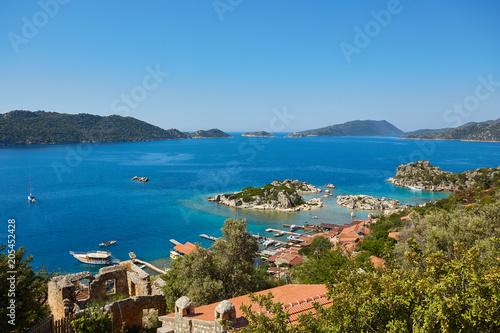 Scenic view of of Kekova Island and Kalekoy from Simena Castle, Turkey.