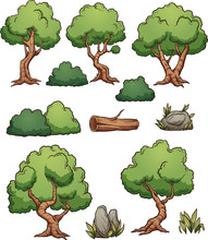 Cartoon Forest Trees, Bushes, ...