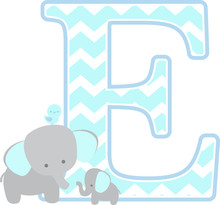 Initial E With Cute Elephant A...